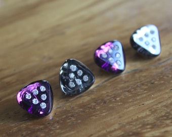 Triangular Glass Buttons - Four/ 1930s Buttons / 1940s Buttons / Vintage Glass Buttons / Vintage Sewing Notions / Vintage Sewing Supplies