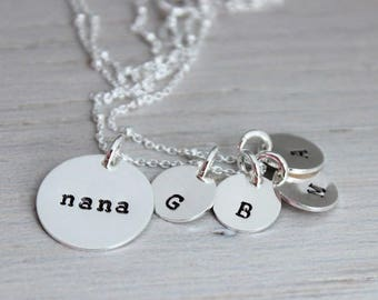nana initials necklace | mothers day gift for nana | granny necklace | grand kids initials | grandmother gift | oma necklace, bubbe necklace