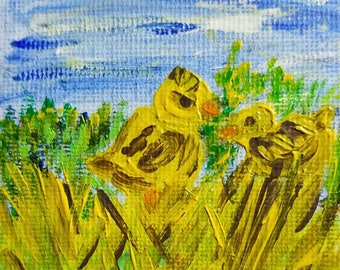 Chicks (Miniature Acrylic Painting with Easel)