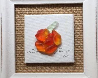 Burlap Pumpkin - sea glass art, beach glass, desktop art, pumpkin, fall, halloween, seasonal, original, handmade, unique