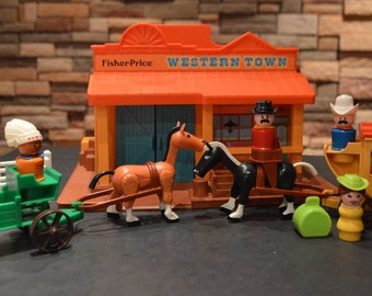 Vintage 1980's Fisher Price Little People Western Town