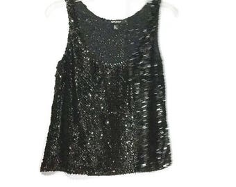 Sequin Top Sequin Camisole Formal  DKNY  Vintage Black Sequin Tank Top Vtg Silks Vintage Formal Wear Vtg Silk Camisoles Black Sequin Top