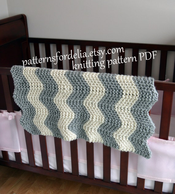 Easy Zig Zag Knitting Pattern : Chunky chevron baby blanket knitting pattern easy beginner zig