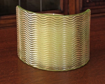 Curved Pale Green Fused Glass Candle Screen with Shimmering Waves - Home Decor Gift