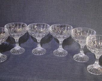 Set of 6 Beautiful BACCARAT Massena Champagne Coupe Glasses, Massena Baccarat Champagne Coupe Glasses