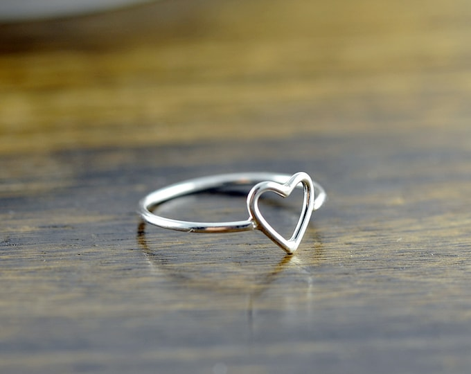 silver rings for women, heart ring, sterling silver, stacking rings, statement rings, gift for her, valentines day, romantic jewelry