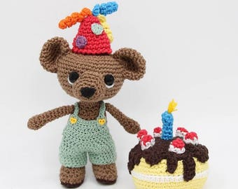 Handmade crochet baby birthday bear
