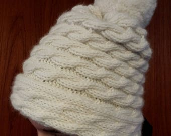 Cabled Hat / 22 Colors / Luxury Cable Winter Hat with Pom / Merino Wool, Silk / Hand Knit, Handmade / Custom, Customizable, Made-to-Order