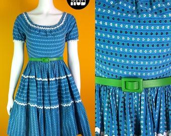 LOVELY Vintage 50s Blue & White Heart Pattern Full Skirt Cotton Dress with Scoop Neck