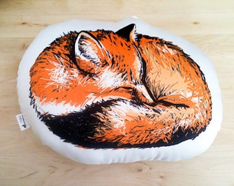 Organic Cotton Animal Pillow in Sleeping Fox with Eco Friendly Ink