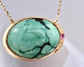 "Turquoise Eclipse Necklace | READY to SHIP | 14ky Gold w Rhodalite Garnet, 14ky adj. 16-17.5"" diamond cut link chain, Turquoise Pendant"