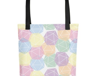 Pastel Dungeons and Dragons D20 Dice Tote bag