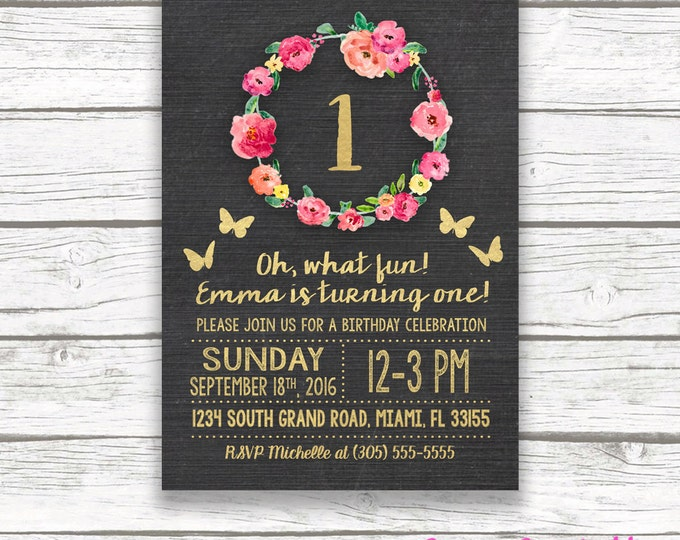 Chalkboard Gold Foil Butterfly First Birthday Invitation, Girl One 1st Birthday Pink Floral Wreath, Printable Invitation, Matching Back