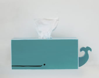 PRE-ORDER: Whale Tissue Holder - Cyan - Ships July 30th / nursery gift baby baby shower nautical pirate handmade woodworking blue