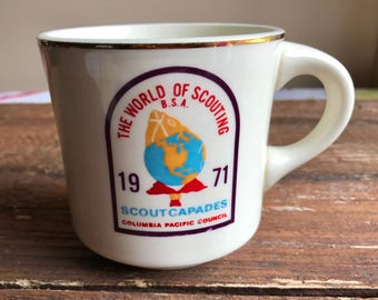 Vintage Boy Scout mug, The World of Scouting, Scout Capades ScoutCapades 1971, Columbia Pacific Council BSA