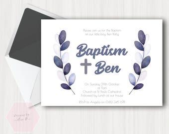 Simple Boy Baptism Invitation, Simple Grey Gray Blue Leaf Floral Baptism Invite, Christening Invite, Christening Invitation, Rustic, Simple