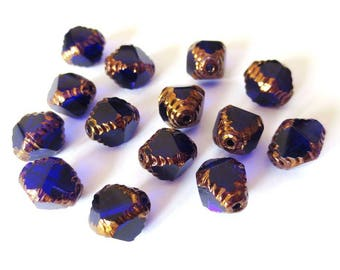 4 diamonds antique blue 10x8mm Czech glass beads dark clear/Gold Polished