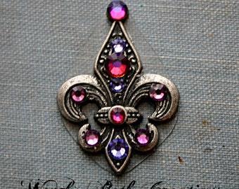 Plum Purple Fleur De Lis  Bindi - ATS, Tribal Fusion, Belly Dance, Facial Jewelry, Third Eye
