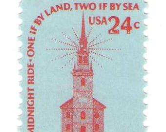 Unused 1975 Old North Church, Paul Revere's Ride - Vintage Postage Stamps Number 1603