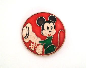 Vintage cute soviet children's pin badge - Mickey Mouse, made in the USSR, 1970s.