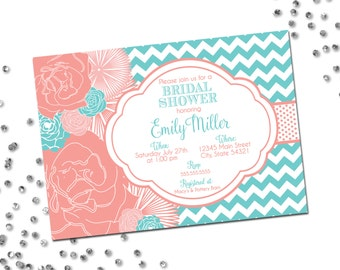 Bridal Shower Invitation - Flower Bridal Shower - Big Coral and Turquoise Blooms - Chevron Stripes - Printable