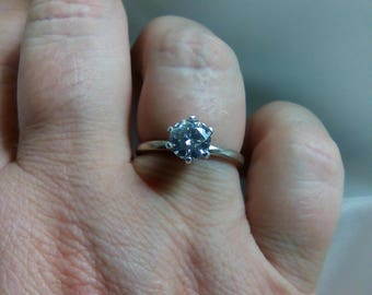 Genuine White Topaz Engagement Ring Promise Ring Sterling Silver 6mm round