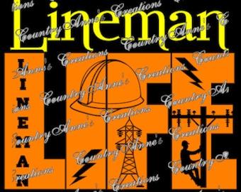 """SVG PNG DXF Eps Ai Wpc Cut file for Silhouette, Cricut, Pazzles, ScanNCut  -""""Lineman Life""""  svg"""