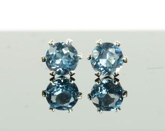 Swiss blue topaz earrings, sterling silver and 4mm Swiss blue topaz studs, blue gemstone earrings, birthstone jewellery, gift for women
