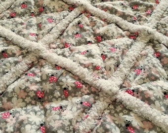 Rag Quilt, Flannel, Cotton, Flowers, Ladybugs, Pink, Gray, White, Black