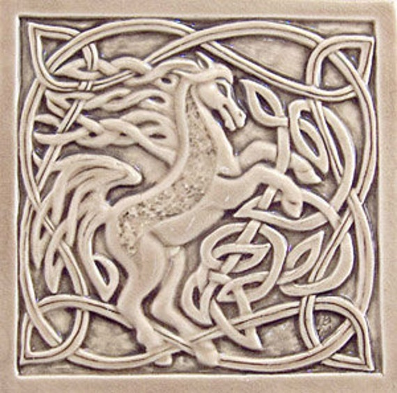 Decorative Relief Carved Ceramic Celtic Horse Tile