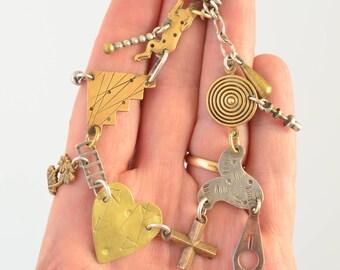 Vintage Thomas Mann Mixed Metal Sterling Silver Bronze Techno Romance Charm Bracelet