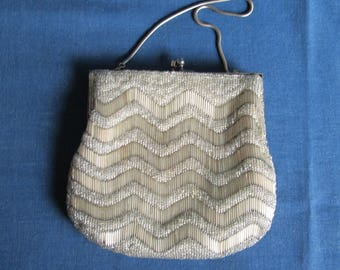 Vintage Beaded Silver Metallic Purse Handbag Evening Bag with Strap by Walbarg Hand Beaded in Hong Kong