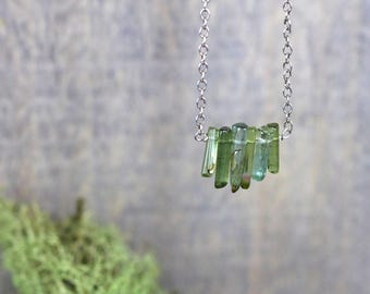 Green Tourmaline Crystal Necklace in Gold Filled or Sterling Silver, Green Gemstone Bar Necklace, Delicate Natural Tourmaline Jewelry