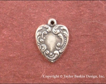 Antique Sterling Silver Plated Victorian Heart (item 322-AS) - 6 Pieces