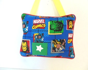 Personalized Marvel Comic Tooth Fairy Pillow, Hanging Pillow,  Hulk Pillow,  Captain America Decor, Boys Room Decor , Thor
