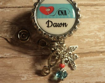 Personalized nurse CNA RN LVN badge reel with charms