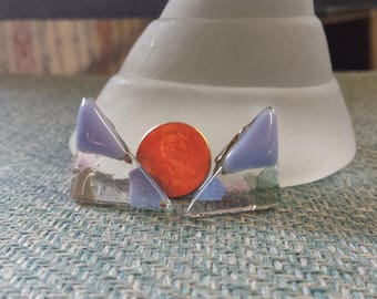 Glass Triangle Clip-On Earrings