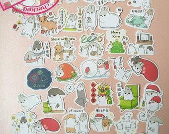 NEW!!Funny Bunny Flake Sticker Bag Version 4 - Merry Chrismas (38Pcs)