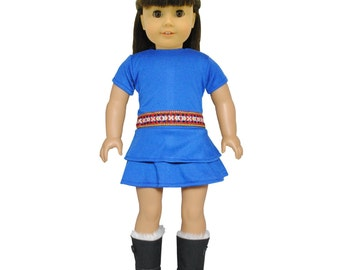 Blue Hipster dress for 18 inch dolls
