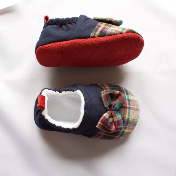 9-12months Red Suede sole baby girl mocs, with tartan toe and bow, pre, walkers and toddlers