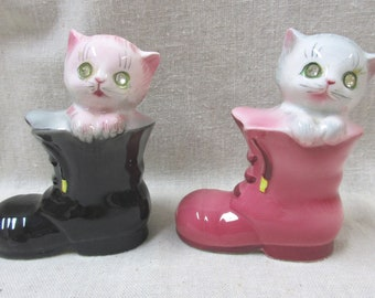 Vintage Cats in Boots Salt and Pepper Shakers.. Original Rhinestone Eyes