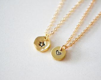 Stamped Jewelry, Stamped Necklace, Dainty Necklace, Star Necklace, Heart Necklace, Dainty Gold Necklace, Dainty Necklace, Delicate Necklace.