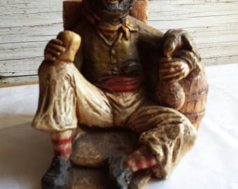 "Vintage Orzeck-Figurine. Manufactured Ware, MA. Seated Pirate with Parrot and Cup of Wine. Very-Nice-Cond.  4"" tall and 5"" wide.A nice gift"