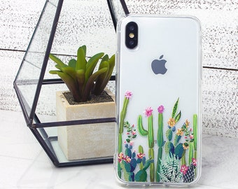 iPhone X Case, iPhone Cases, iPhone 8 Plus, iPhone 8 Case, Clear Cases, Cactus, Succulents, Galaxy S8 Case, Galaxy S9, iPhone 7, iPhone 6