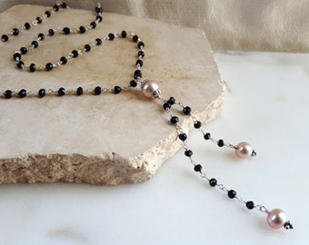 Gemstone Tassel Y Necklace Black Spinel Pink South Sea Pearl 18 inch Sterling Silver Chain Necklace Elegant High End Fine Jewelry Life Bijou