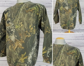 Vintage 90s Mossy Oak Field Staff Hunting Camo Men's Large Sweat Shirt Green Camouflage Long Sleeve Cotton Blend Warm