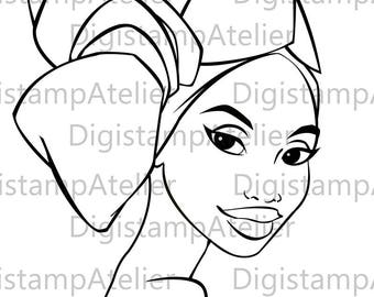 African Lady. INSTANT DOWNLOAD Digital Digi Stamps