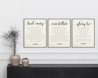 Prayer Print Set. Our Father, Hail Mary, Glory Be and Angel of God Art Prints. Christian Wall Art Print. Kids Prayer Print. Farmhouse Prayer