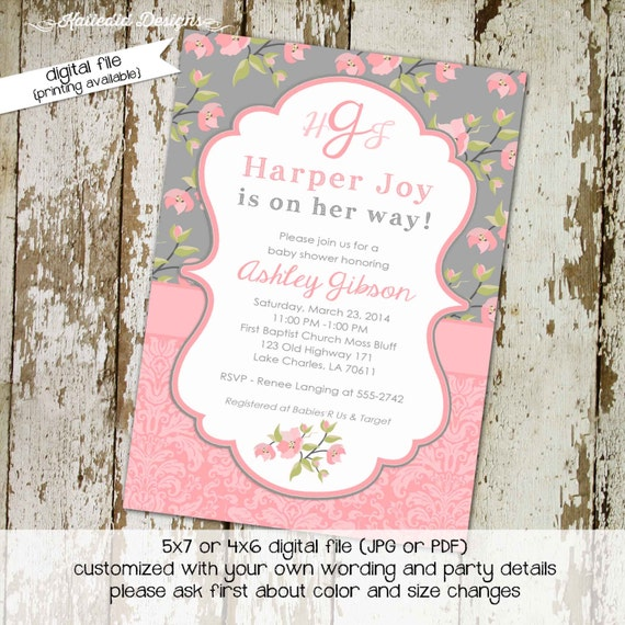 rustic baby girl shower invitation floral chic invite diaper wipe brunch co-ed baby shower monogram pastel pink gray 1335 Katiedid Designs