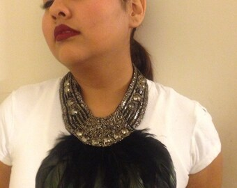 AZTEC - Silver & Black Beaded with Feather Necklace, Statement Necklace, Fall Accessories and Hand Crafted